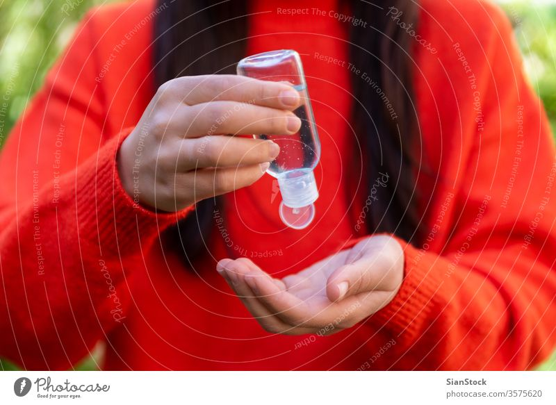 Close up woman hands using sanitizer gel dispenser, bacteria coronavirus influenza covid19 covid-19 avoid alcohol care liquid hygienic hair cleanser medicine
