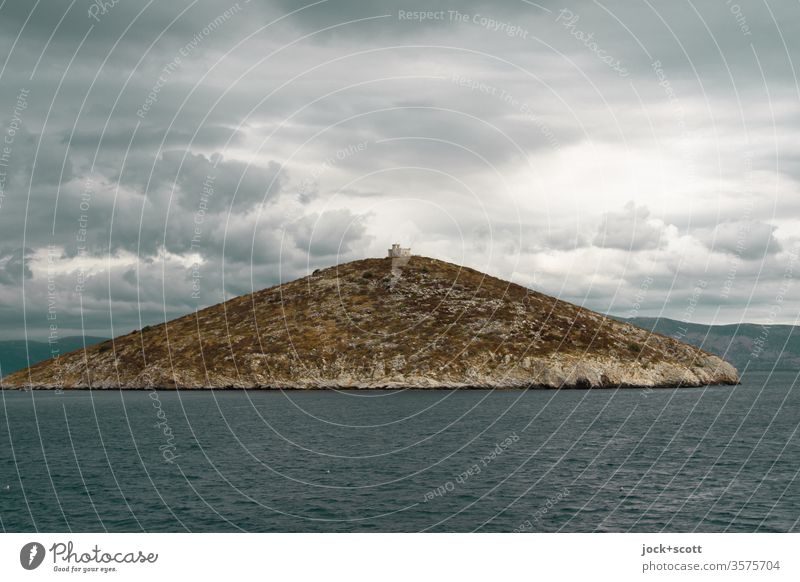 small island with big house on it Island Greece Mediterranean sea Euripos Hill Cloud formation House (Residential Structure) Far-off places Panorama (View)