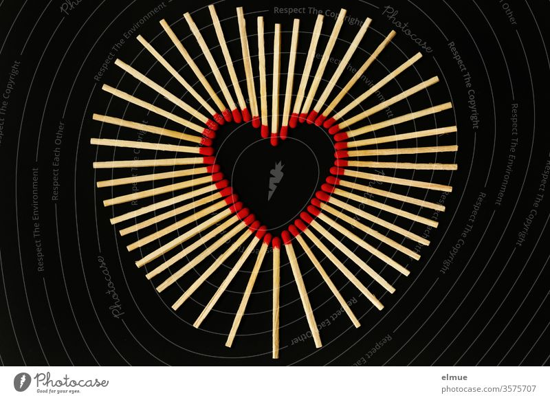 Photochallenge I matches on black background - red match heads form a heart Match Heart Love Burn Hot Ignitions wood Black Red Ignite wooden sticks Sulphur wood