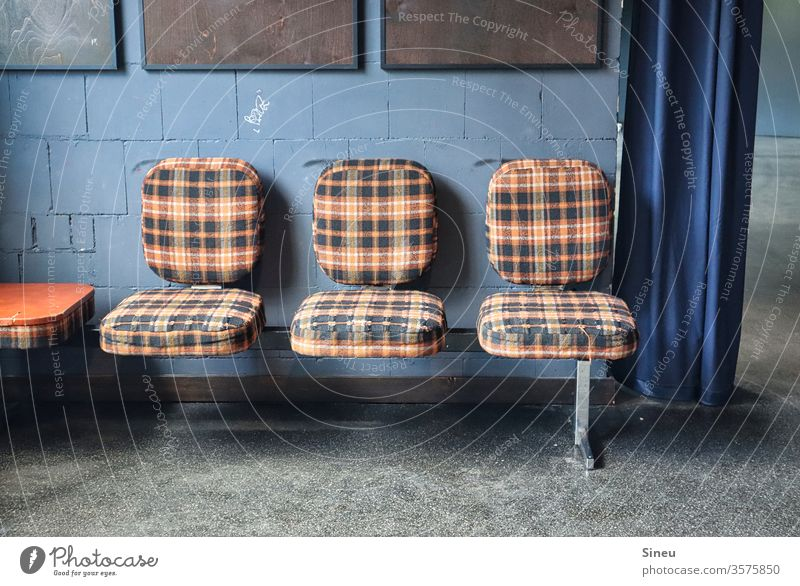 "Checked seating row ""Flotter Dreier"" bench Row of seats chairs Checkered checkered reference Seating Chair Furniture seating furniture Sit Wait Gloomy Places"