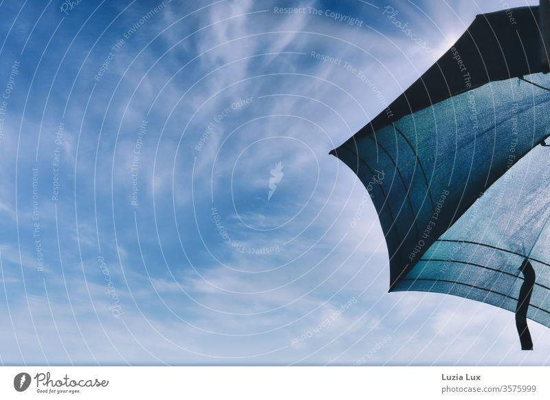 Parasol in front of a blue sky, lots of sunshine Sky Blue Clouds White Sun Light Summer Bright Beautiful weather Exterior shot Sunlight Colour photo Sunbeam
