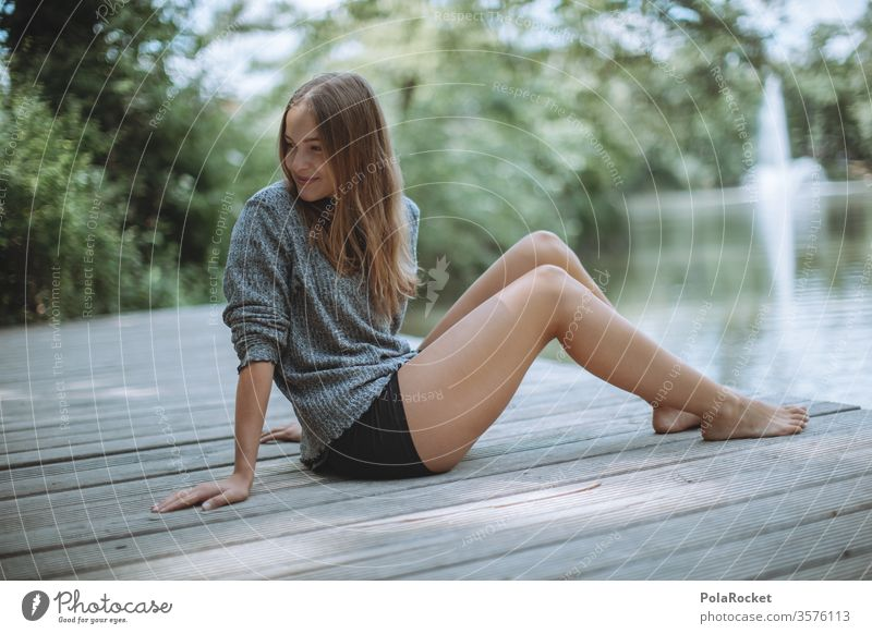 #A10# Summer day V waiting Wait sedentary Sunlight Feminine Contentment Calm portrait Human being Adults Colour photo Grass smile Exterior shot Young woman
