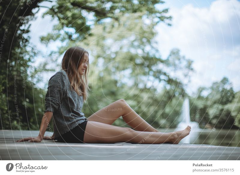 #A10# Summer day XIX Beauty & Beauty waiting Wait sedentary Sunlight Feminine Contentment Calm portrait Human being Adults Colour photo Grass smile