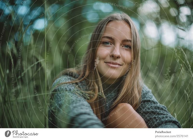 #A10# Summer day XII Sunlight portrait Calm Contentment Feminine Human being Adults Colour photo Exterior shot Youth (Young adults) Young woman smile Grass