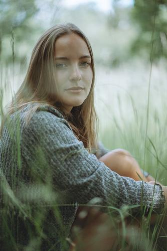 #A10# Summer day X Sunlight portrait Calm Contentment Feminine Human being Adults Colour photo Exterior shot Youth (Young adults) Young woman smile Grass Meadow