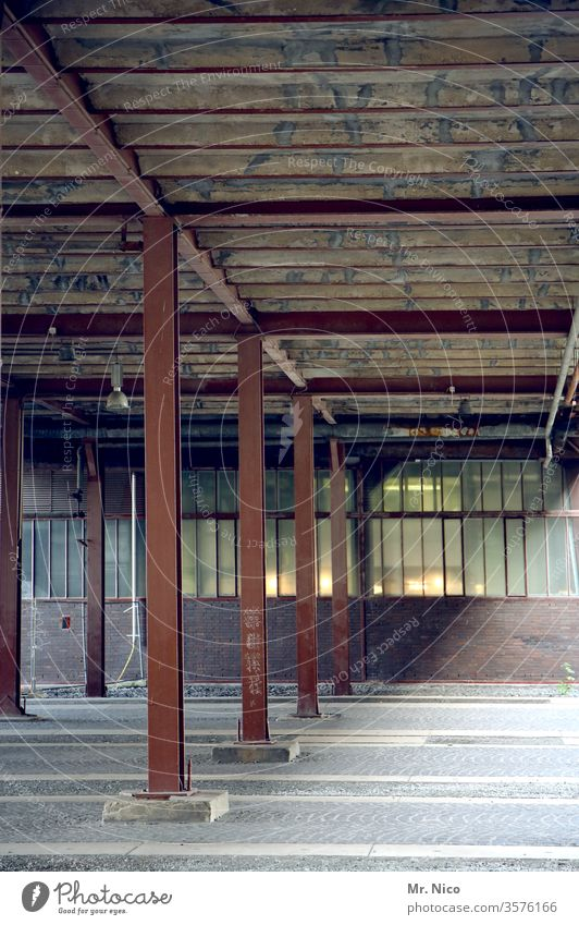 warehouse Warehouse Industry Factory Derelict Dirty built Industrial plant Manmade structures Window Architecture Empty props Steel carrier Hall