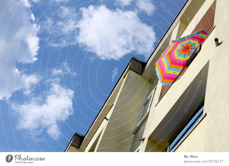 summer on balconies Balcony Sunshade Blue sky apartment building variegated Summer Sky Vacation & Travel Beautiful weather House (Residential Structure) built