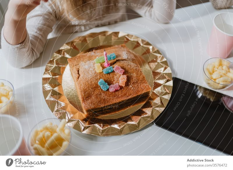 Tasty birthday cake with candle and candies on table jelly number shape five 5 celebrate party holiday child delicious dessert kid tasty yummy room sweet treat