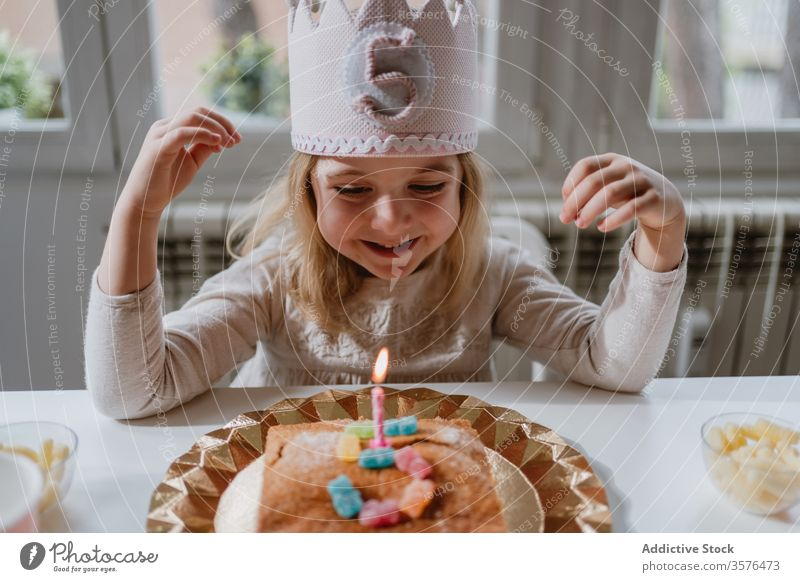 Little girl blowing candle on birthday cake during party at home wish happy celebrate joy charming crown felt decorative sibling sweet event fun little holiday