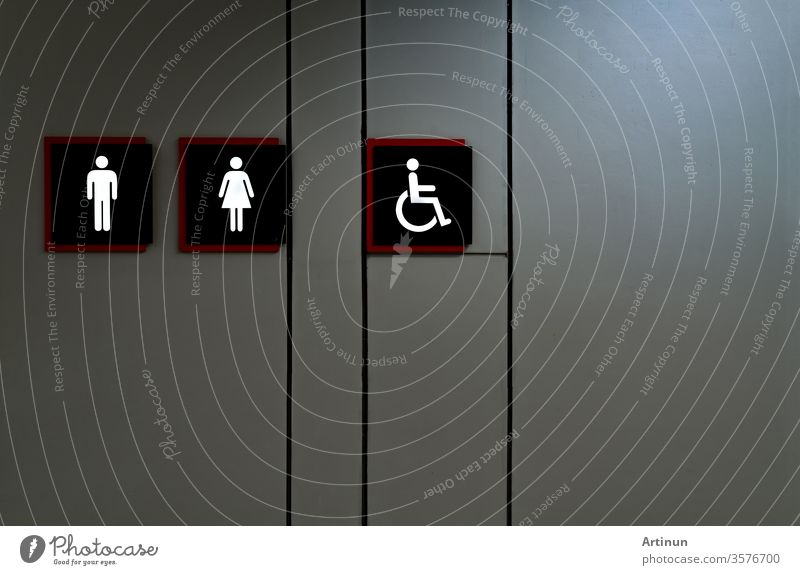 Public toilet sign. Woman, men,and disabled person toilet icon. Public restroom universal icon. Urinary incontinence problem. Male, female and disabled access symbol. Latrine or WC. Washroom sign.