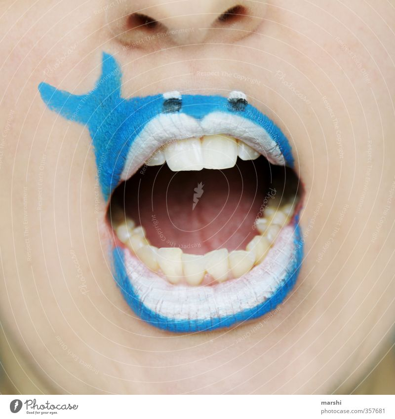 Human being Nature Blue Animal Face Feminine Emotions Funny Masculine Mouth Threat Fish Idea Teeth Lips Animal face
