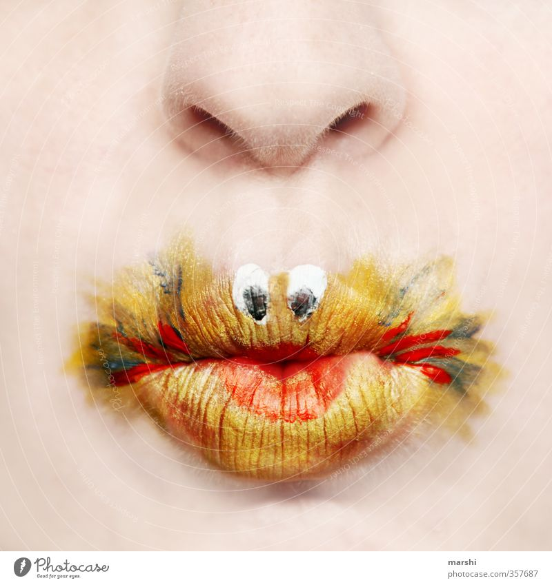 Golden fish Style Leisure and hobbies Human being Masculine Feminine Skin Mouth Lips 1 Yellow Goldfish Cute Painted Make-up Apply make-up Funny Idea Fish