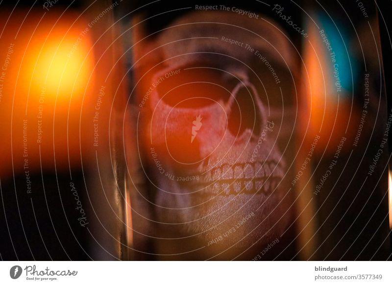 Death in acrylic. Light play of a 3D skull in an acrylic block. Death's head Head Whimsical Teeth Creepy Human being Interior shot Hallowe'en Fear conceit Face
