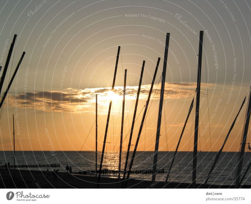 Sun and boats Sunset Ocean Beach Watercraft Catamaran Electricity pylon masts Baltic Sea