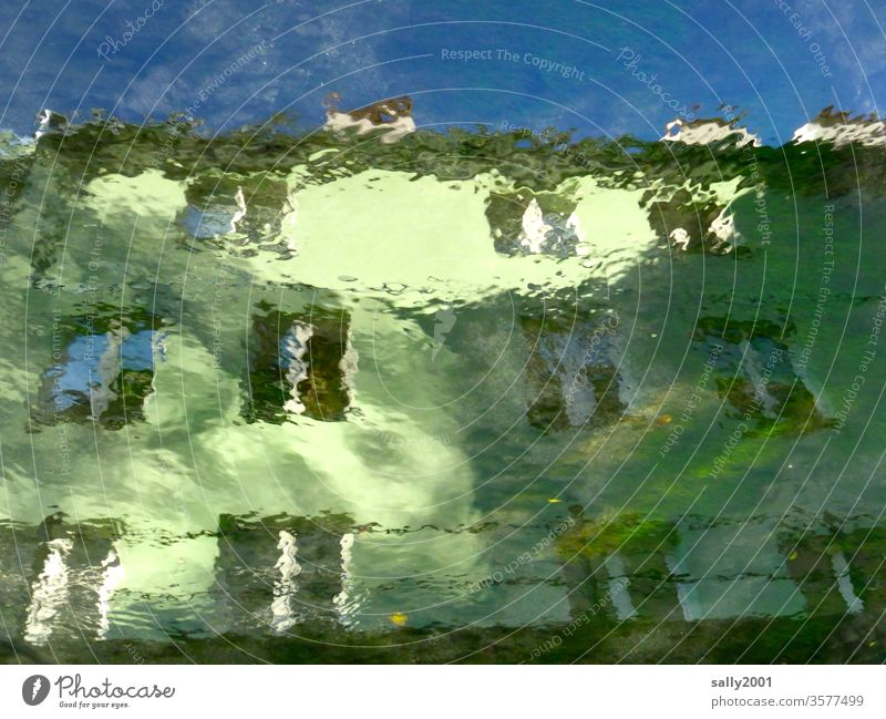 Watercolor house... House (Residential Structure) Facade reflection River green Window Reflection blurred slanting built Architecture Apartment Building Light