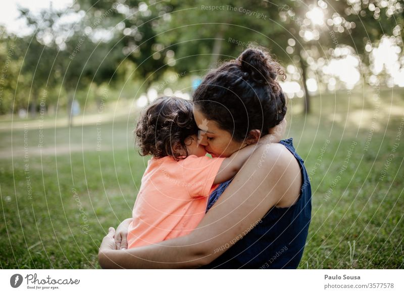 Mother hugging Daughter Mother's Day motherhood Motherly love Child Love Together togetherness Lifestyle Bonding care Summer Happiness Joy Happy