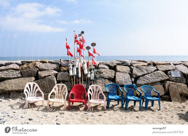 Sky Blue White Red Clouds Beach Coast Stone Sand Chair Seating Sky blue Clouds in the sky Fishing village Plastic chair Row of chairs
