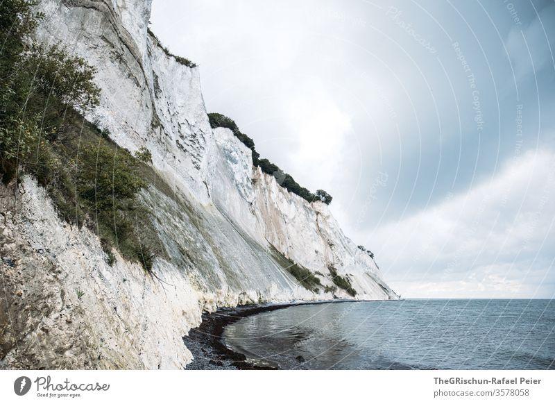 White rock Denmark - Mons Klint Sky Möns Klint Rock Beach Vacation & Travel Landscape Tourism fesling stone structure Pattern Ocean Clouds