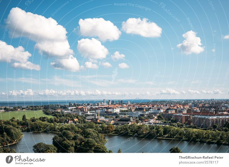 City from above - Cloudy sky Copenhagen Town Denmark Exterior shot House (Residential Structure) Colour photo built Architecture Europe Sky Scandinavia Water