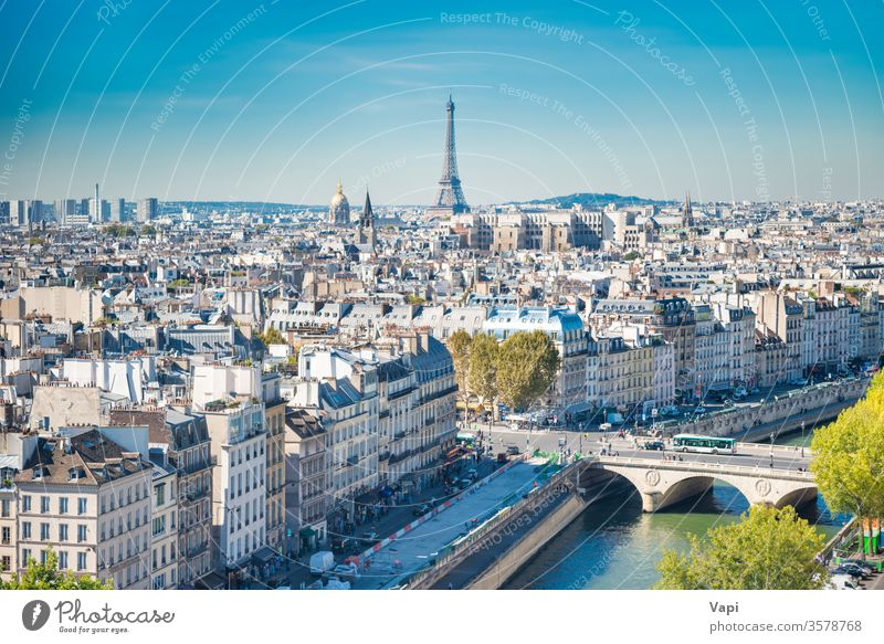 Paris cityscape with Eilffel tower paris eiffel france view skyline architecture aerial europe urban french landmark landscape famous roof panoramic beautiful