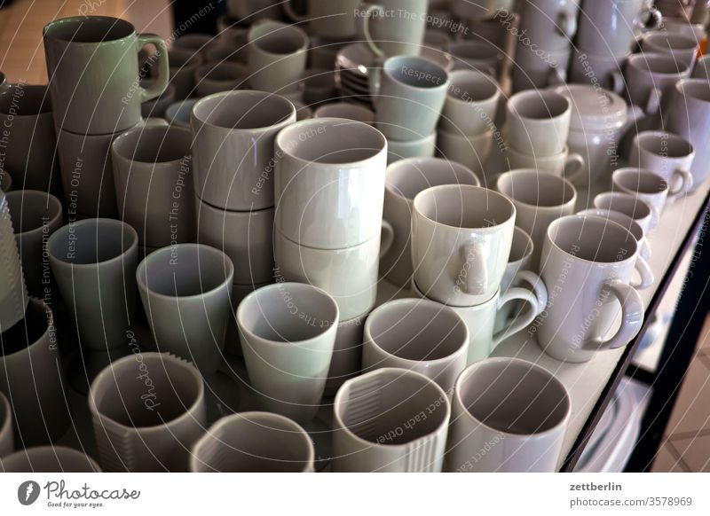 Cups, pots, mugs Crockery Household Pottery Porcelain Mug White assortment Selection Shelves quantity mass Many annaburg Exhibition Historic Museum Industry