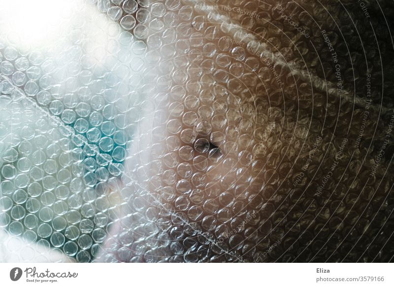 The body of a woman covered by bubble wrap Body Woman Stomach Bubble wrap vulnerable body shaming body sensation Self esteem Navel decrease Naked Eroticism