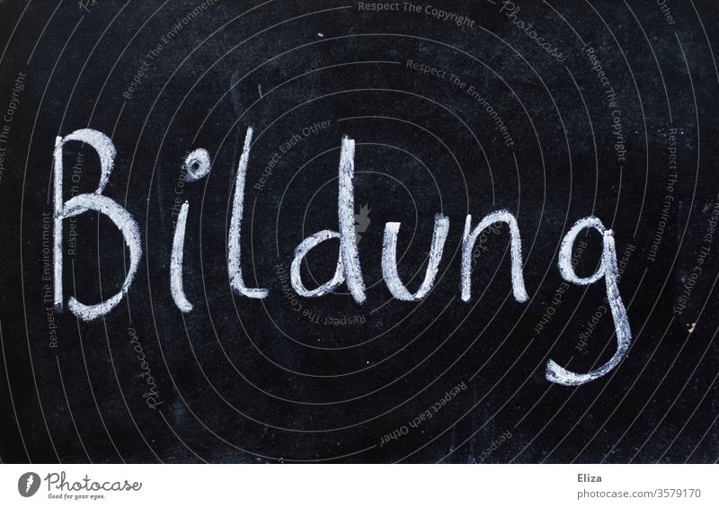 blackboard on which the word education is written with chalk Education schooling School Blackboard Chalk Lessons Word authored Study Important Know White