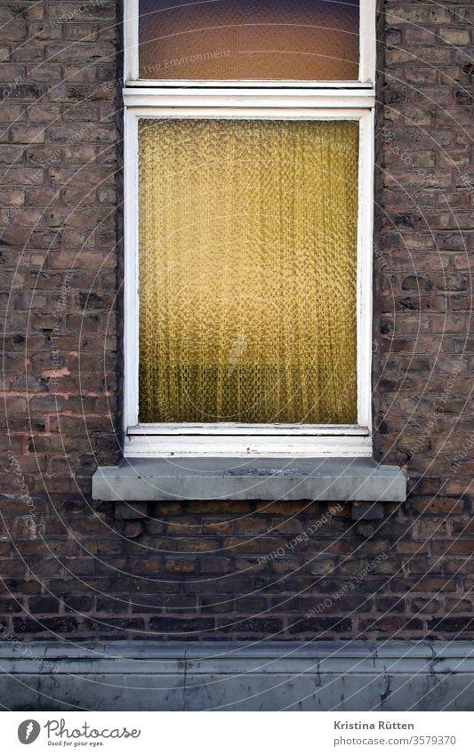 brick facade with structured glass windows Window window glass Screening Curtain windowsill House (Residential Structure) Facade Brick textured glass