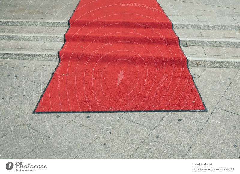 Red carpet on steps Carpet stagger Paving tiles off crease ascent movie Empty Shabby Stairs Event Culture forsake sb./sth. blotchy frowzy Transience glorious