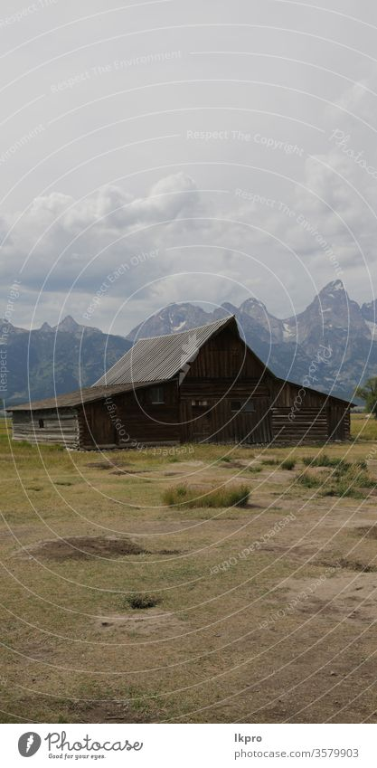 mormon house in USA  grand teton  national  park cabin famous peaceful hole destination country traditional jackson hole ranch mormon row religion background