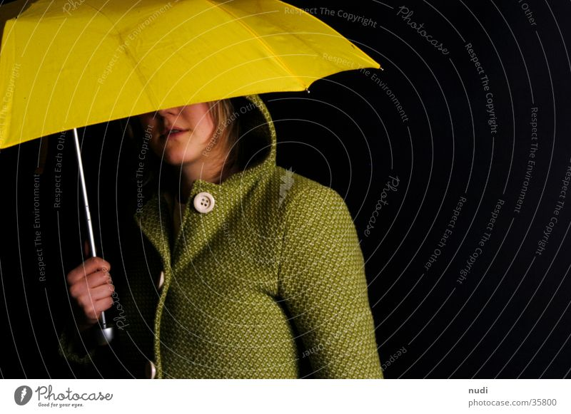 Woman Green Black Eyes Yellow Head Umbrella Hide Coat Buttons Hooded (clothing) Protection