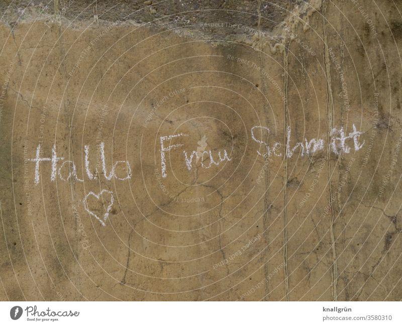 """Hallo Mrs. Schmitt"" and a heart written with chalk on a brown, dirty wall Communication Love Emotions Heart Woman Declaration of love Chalk salute Romance"