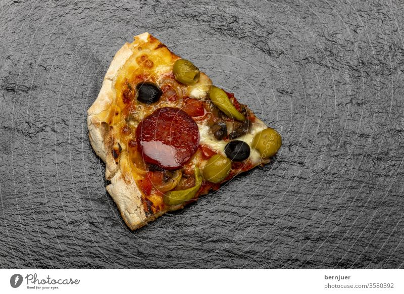 Overview of a pizza on wood Pizza Slice Pizza slice Delicious swift Meal Eating Dinner pepperoni Italian Mozzarella Cheese Snack cake Restaurant Meat homemade