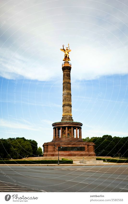 Victory Column again Evening tree Berlin leaf gold Monument Germany Twilight else Closing time Figure Gold Goldelse victory statue big star Capital city Sky