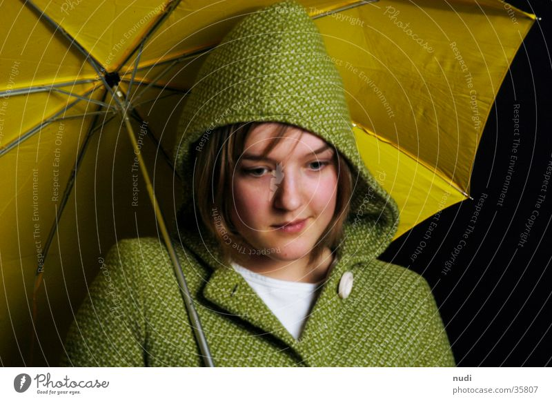 Woman Green Black Face Yellow Umbrella Coat Hooded (clothing)