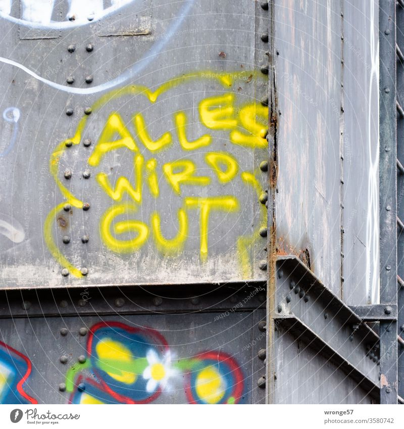 Graffito Everything is well sprayed with yellow paint on a bridge girder Graffiti Colour photo yellow color Steel carrier Bridge girder Steel bridge