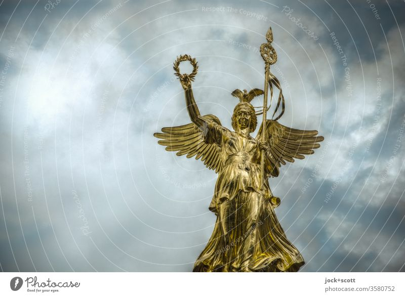 Victoria, all that glitters is not gold Tourist Attraction Victory column Elegant Historic Sky Bay leaf Goldelse victory statue Monument Berlin Landmark Angel