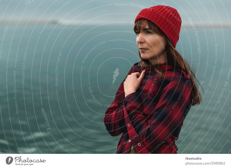 It's getting cold woman portrait lake serene nature relax landscape hipster travel fashion traveler face relaxing beach lifestyle young water caucasian alone