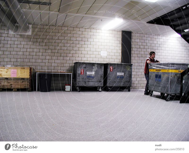 Man Dark Cold Stone Wall (barrier) Concrete Factory Warehouse Cellar Trash container