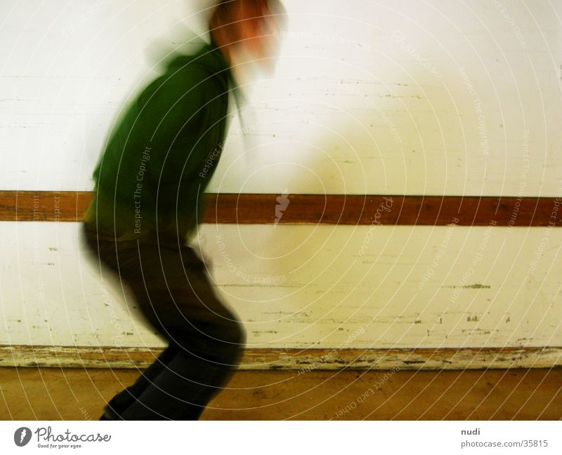 Human being Man White Wall (building) Head Movement Jump Legs Floor covering