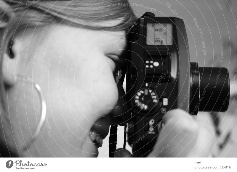 The smile behind the camera Woman Camera Silhouette Black White Cheek Face Side Profile Laughter
