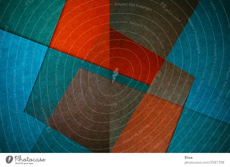Abstract, graphic, geometric surfaces and shapes in blue and red colours Forman colors variegated W Sharp-edged Gaudy experimental structure texture graphically