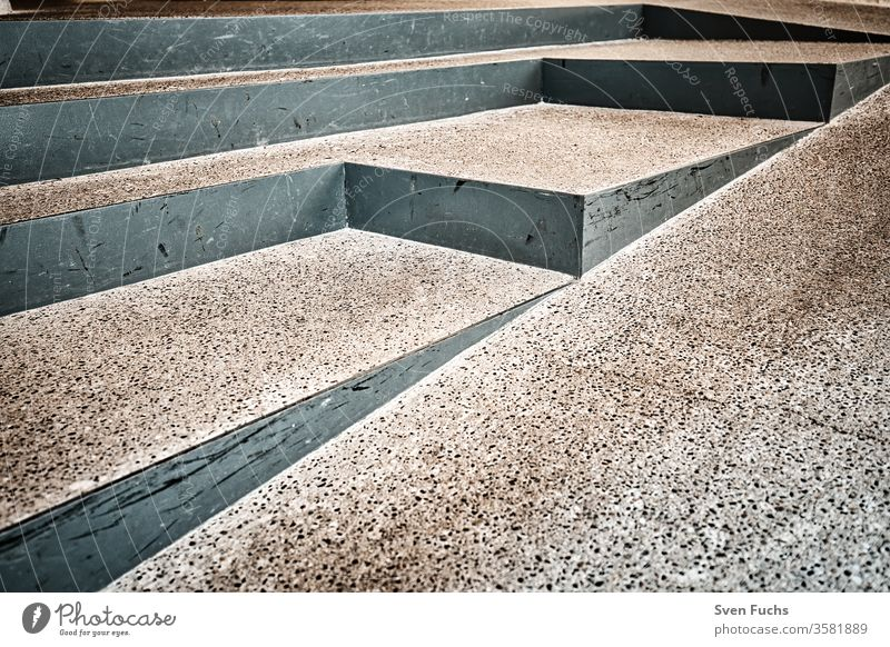 Entrance area with different staircase steps Stairs Metal Concrete Disability friendly Ramp obliqueness texture background Surface Pattern Gray off Abstract