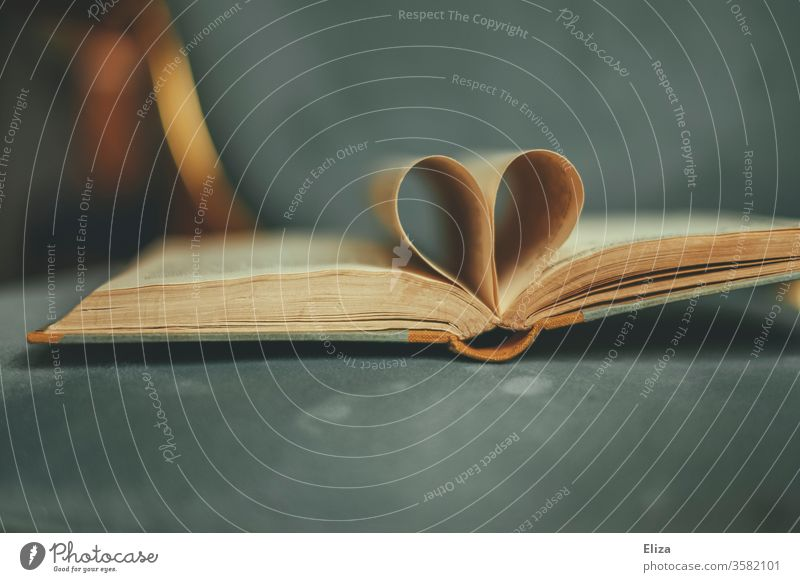 An opened old book whose pages form a heart. Concept Love for literature and reading. Book Reading Heart Literature Passion romantic Novel romance novels