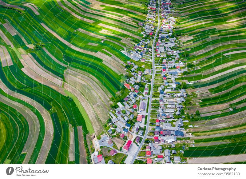 Poland from above. Aerial view of green agricultural fields and village. Landscape with fields of Poland. Typical polish landscape. jura siesian idyllic europe