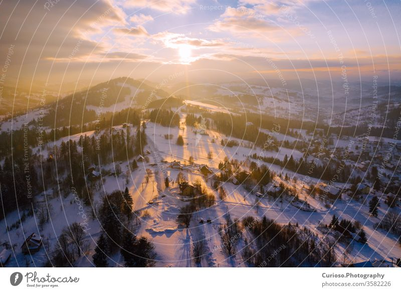 Winter scenery in Silesian Beskids mountains. View from above. Landscape photo captured with drone. Poland, Europe. winter sky landscape travel beskids clouds