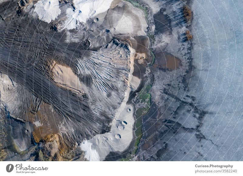 Aerial view of degraded landscape. Destroyed land. View from above. Industrial place. Photo captured with drone. poland destroyed mine background industry