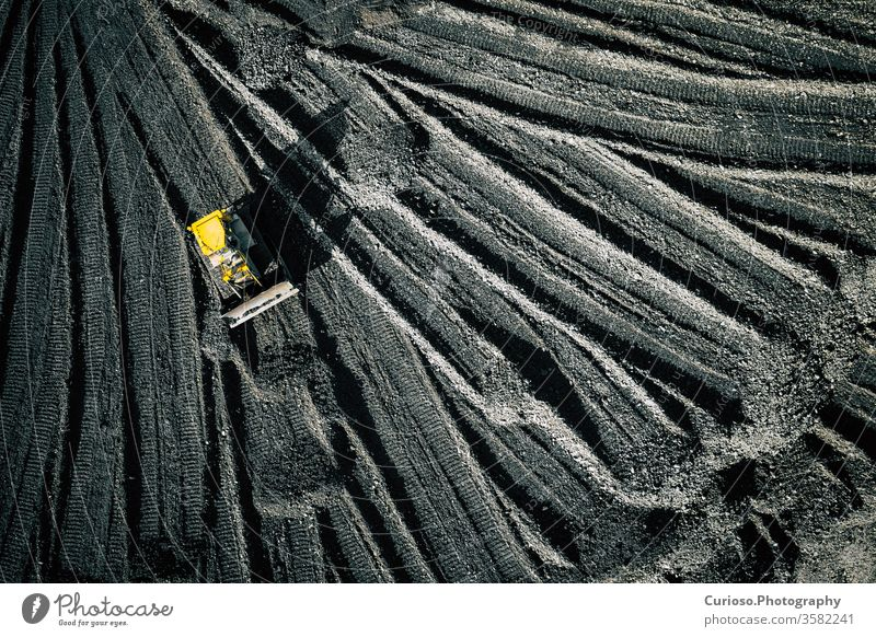 Open pit mine. Aerial view of extractive industry for coal. Top view. Photo captured with drone. above aerial top equipment machinery fuel extraction energy