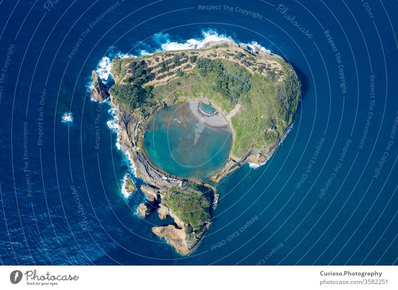 Aerial view of Islet of Vila Franca do Campo, Sao Miguel island, Azores, Portugal. miguel vila franca campo sao portugal azores islet aerial summer nature water