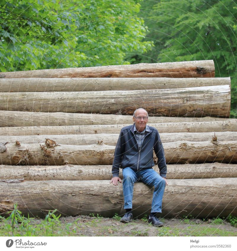 Break - Senior sits on felled tree trunks in the forest | Favourite person Human being Man Senior citizen Sit Forest Relaxation Male senior Exterior shot